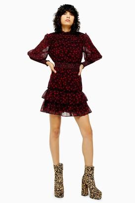 Topshop Womens Tall Red Star Ruffle Shirred Mini Dress - Red