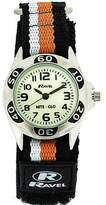 Ravel Nite-Glo Quartz Luminous Dial Black Orange Velcro Boys Watch R1704.8