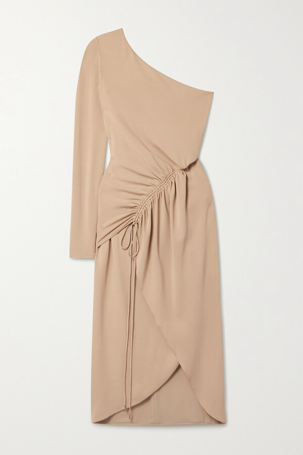 Thumbnail for your product : Cushnie One-sleeve Ruched Stretch-crepe Midi Dress - Neutrals