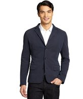 Z Zegna navy cotton pique knit blazer