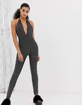 Jaded London festival rhinestone sequin plunge catsuit