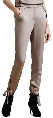 Halston Satin Slim-Fit Ankle-Tie Pants