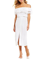 LaBlanca La Blanca Costa Brava Off-The-Shoulder Crochet-Trim Midi Dress Cover-Up