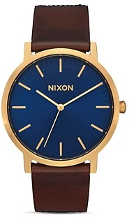 Nixon Porter Brown Leather Strap Watch, 40mm
