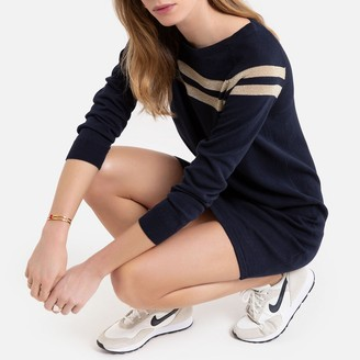 Only Cotton Jumper Shift Dress with Coloured Stripes and Long Sleeves