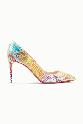 Christian Louboutin Pigalle Follies 85 Printed Leather Pumps - White