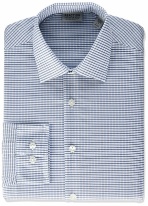Kenneth Cole Reaction Men's Dress Shirt Extra Slim Fit Stretch Stay-Crisp Collar Check
