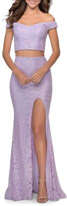 La Femme Two-Piece Sequin Lace Trumpet Gown