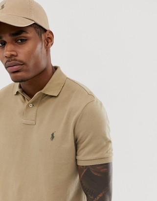 Polo Ralph Lauren player logo pique polo slim fit in beige