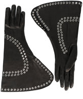 Alexander McQueen fold-over embellished gloves - women - Silk/Lamb Skin/metal - 7