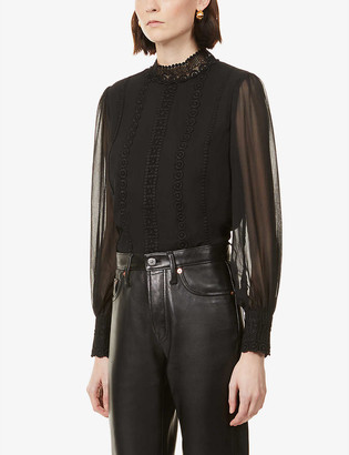 Ted Baker Lace-detail crepe blouse