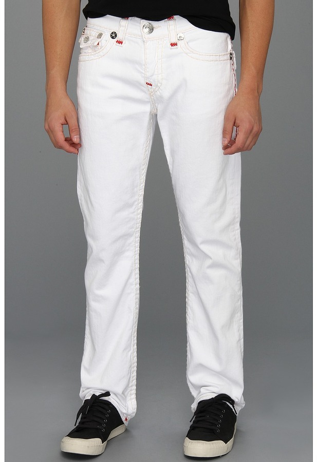 True Religion Ricky Straight Contrast Red Super T in Optic White (Optic White) - Apparel