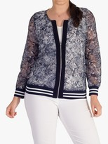Chesca chesca Contrast Lace Zip Top, Navy/Ivory