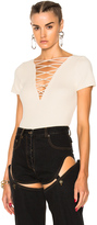 Alexander Wang Cotton Cashmere Lace Up Short Sleeve Pullover