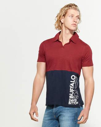 Buffalo David Bitton Color Block 3D Logo Short Sleeve Polo