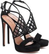 Alaia Mesh-trimmed suede platform sandals
