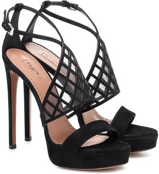 Alaã ̄A Mesh-trimmed suede platform sandals