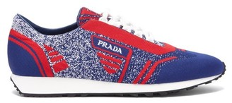 Prada Milano Jacquard Knit Low Top Trainers - Mens - Red Multi