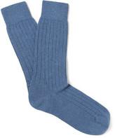 Sunspel Ribbed Cashmere Bed Socks