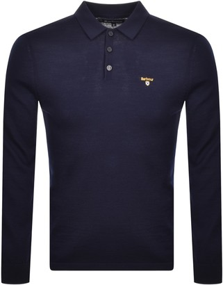 Barbour Long Sleeve Knitted Polo T Shirt Navy
