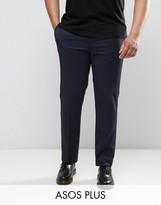 Asos PLUS Slim Tuxedo Pants in Navy
