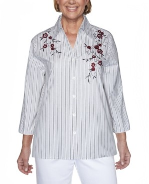 Alfred Dunner Women's Plus Size Madison Avenue Embroidered Stripe Shirt