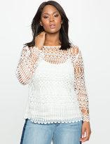 ELOQUII Plus Size Long Sleeve Geometric Lace Top