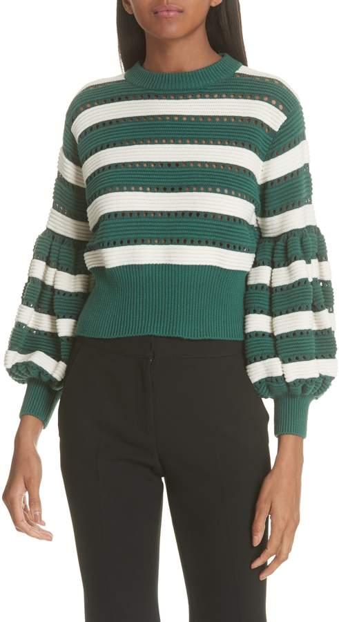 Self-Portrait Puff Sleeve Cotton & Wool Crop Sweater