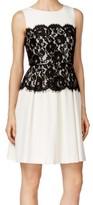 Calvin Klein White Black Women's Size 4 Pleated Lace Belt Dress