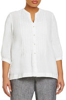 Jones New York Sport Plus Band Collar Pleated Linen Shirt