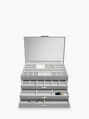 Dulwich Extra Large Leather Jewellery Box, Grey