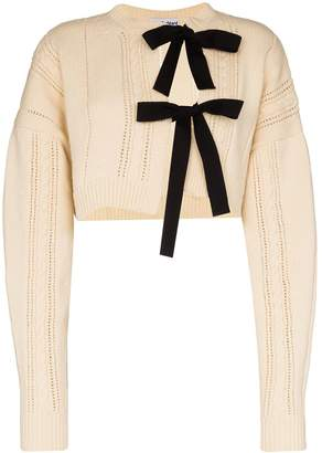 Molly Goddard tie front cropped cardigan
