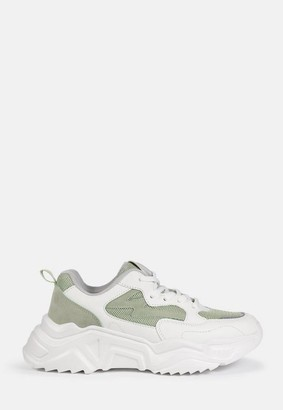 Missguided Sage Faux Suede Panel Chunky Sole Sneakers