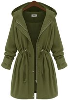 JOLLYCHIC Women's Outwear Hooded Plus Size Autumn Trench Jacket Parka Coats (3XL, )