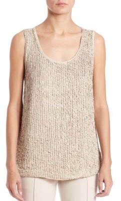 Lafayette 148 New York Sequined Suede & Silk Blouse