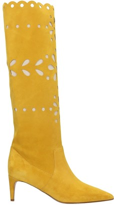 RED Valentino Low Heels Boots In Yellow Suede