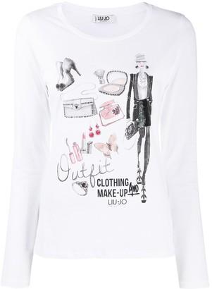 Liu Jo long-sleeve graphic print T-shirt