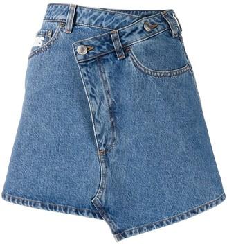 GCDS Asymmetric Logo Denim Skirt