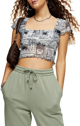 Topshop Astro Ruched Crop Top