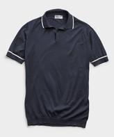 John Smedley Sweaters John Smedleys Sea Island Cotton Tipped Polo in Navy