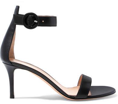 Gianvito Rossi Portofino 70 Leather Sandals - Black