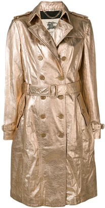 Burberry Pre Owned 1990s Double-Breasted Metallic Coat