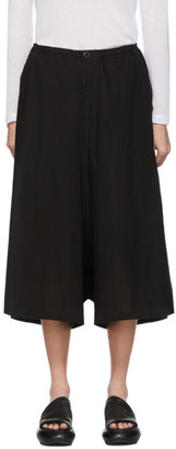 Y's Ys Black Wrap Flared Trousers
