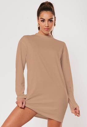 Missguided Tan Basic Long Sleeve T Shirt Dress