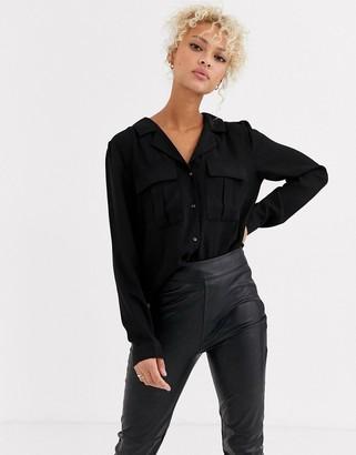 JDY Pride long sleeve satin utility shirt-Black