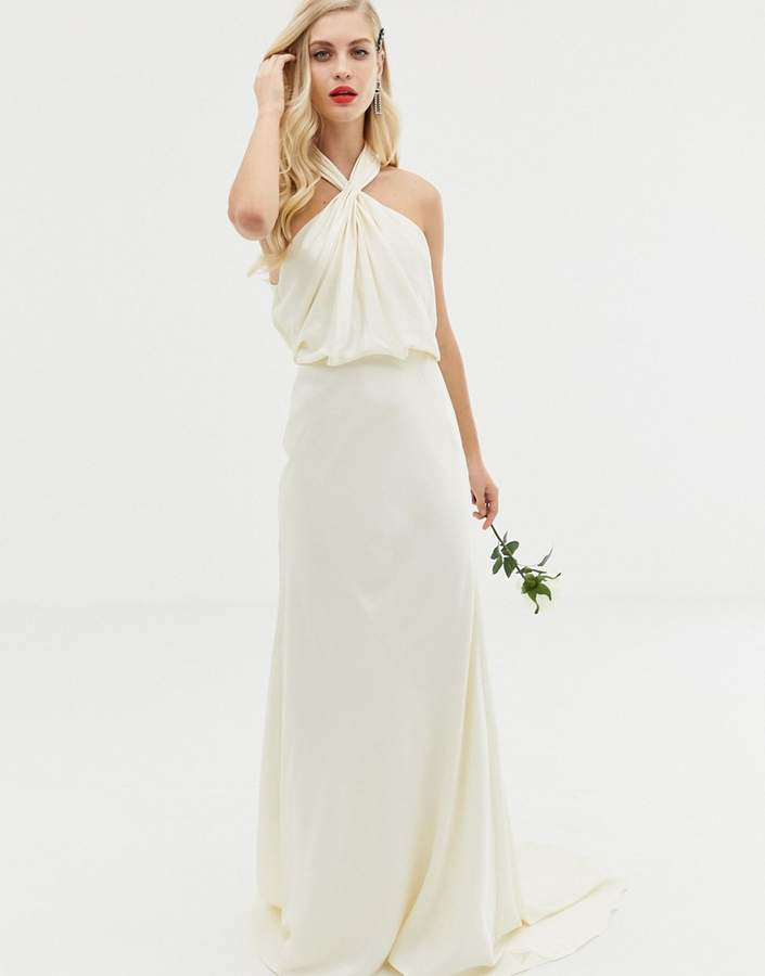 Asos Edition EDITION ruched halter neck maxi wedding dress