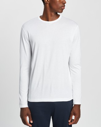 Sunspel Men's White Basic T-Shirts - Long Sleeve Crew Neck T-Shirt - Size L at The Iconic