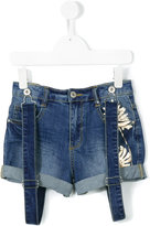 Une Fille - denim suspender shorts - kids - Cotton/Elastodiene - 10 yrs