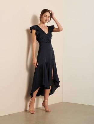 Ever New Carina Satin Flutter-Sleeve Dress