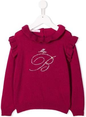 Miss Blumarine embellished logo jumper